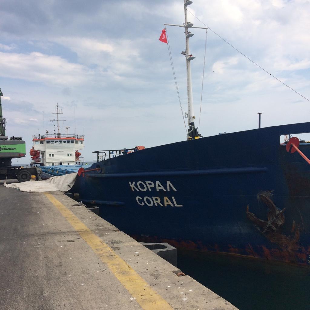 """Azərbaycan karbamidini daşıyan """"Coral"""" gəmisi Türkiyə limanına çatıb"""