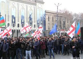 С совместной акции протеста азербайджанцев и грузин против установления бюста армянскому террористу - ФОТОРЕПОРТАЖ