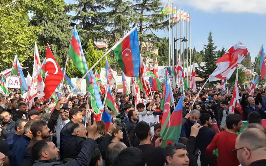 Gürcüstan azərbaycanlıları Azərbaycana dəstək mitinqi keçirdi
