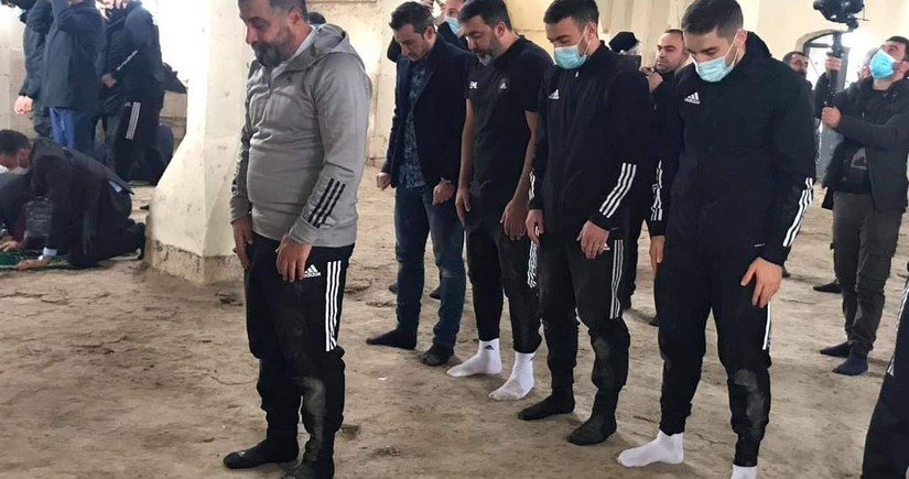 Qarabag FC players perform namaz at Aghdam Juma Mosque
