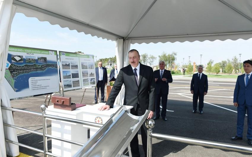 Президент заложил фундаменты ферм по выращиванию рыбы в Пираллахинском районе
