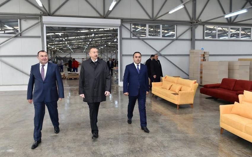 """Prezident İlham Əliyev Ağstafada """"Modern"""" mebel fabrikinin açılışında iştirak edib"""