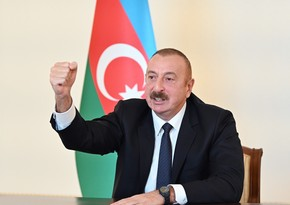 President Ilham Aliyev addresses people