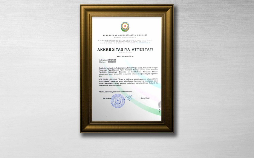Aqrar Xidmətlər Agentliyinin laboratoriyası akkreditasiya edildi