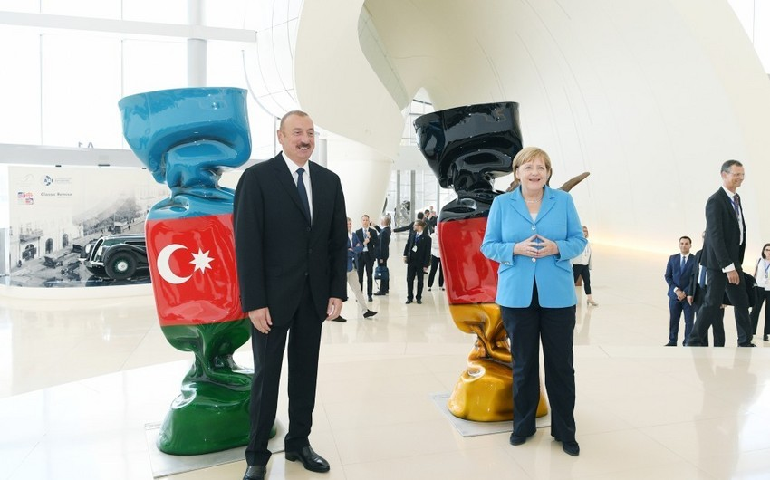 Azərbaycan Prezidenti və Almaniyanın Federal Kansleri iş adamları ilə görüşüblər