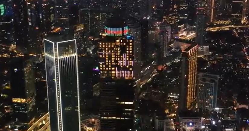 Tallest building in Jakarta illuminated in colors of Azerbaijani flag