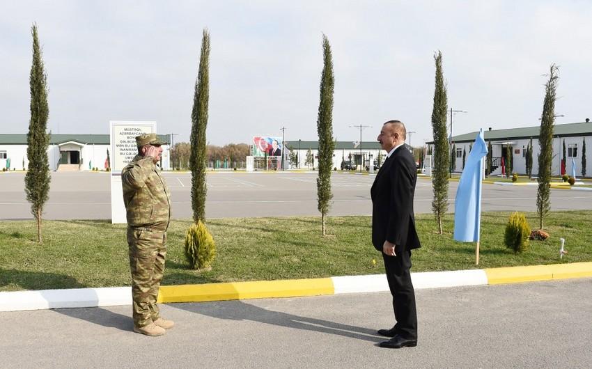 Commander-in-Chief Ilham Aliyev views military unit in Tartar district