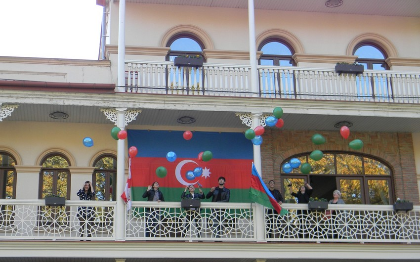 Report Information Agency organizes action 'Flag of Azerbaijan' in Tbilisi - VIDEO