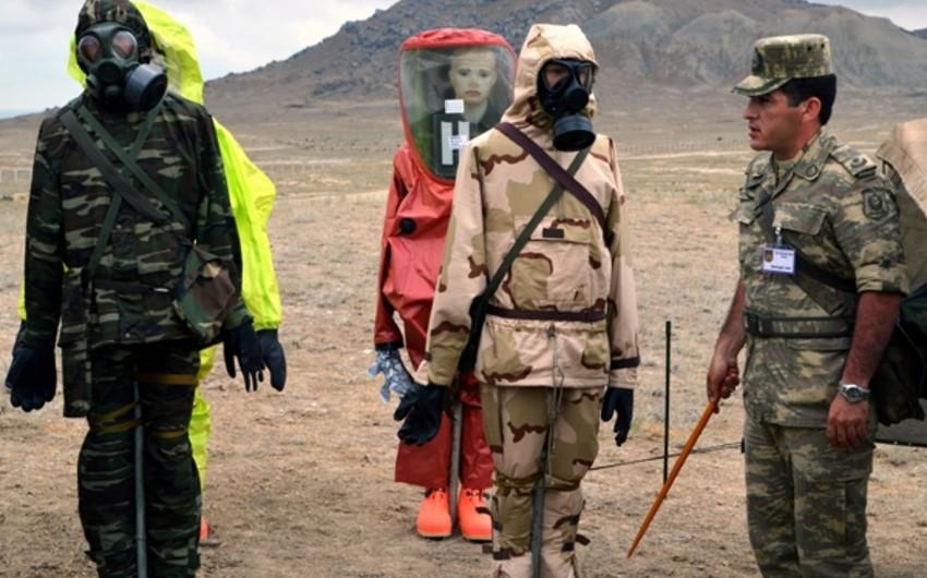 Azərbaycan Silahlı Qüvvələrinin Kimya Qoşunlarının döyüş hazırlığı təlimi keçirilib