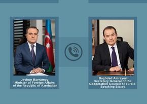 Ceyhun Bayramovla Türk Şurasının baş katibi arasında telefon danışığı olub