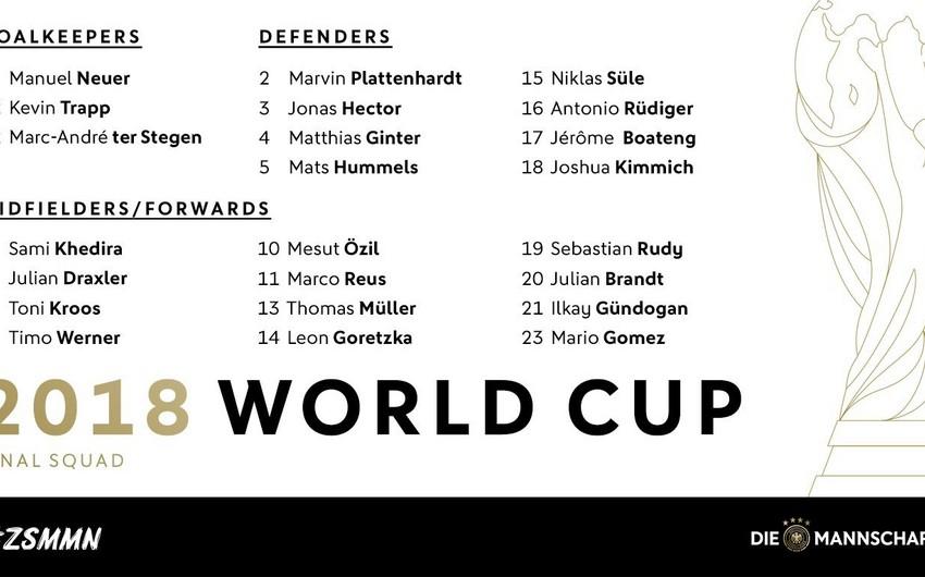 Almaniya milli komandasının dünya çempionatı üçün yekun heyəti açıqlanıb