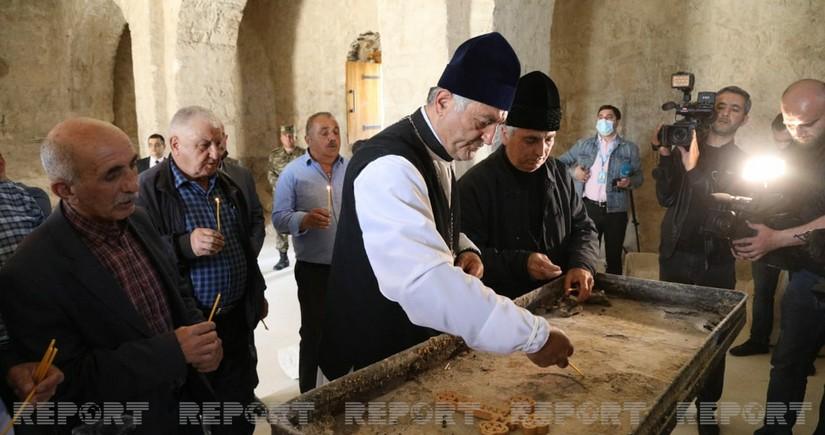 Alban-Udi xristian dini icması üzvləri Tuğda qədim alban məbədini ziyarət edib - YENİLƏNİB
