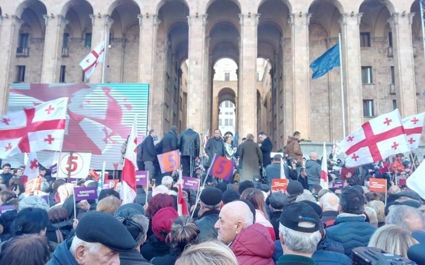 В Тбилиси начался митинг с требованием проведения досрочных выборов в парламент Грузии