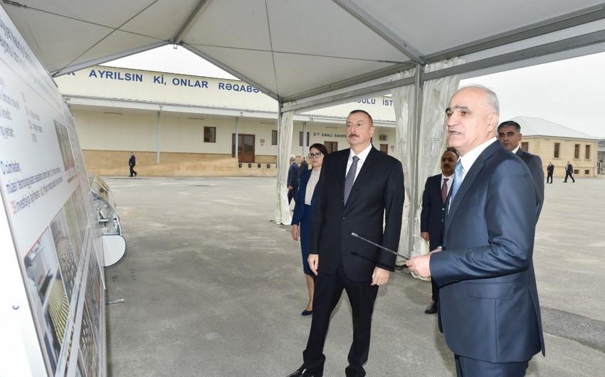 Президент ознакомился в Абшеронском районе с деятельностью ООО Zəhmət-Ruzi