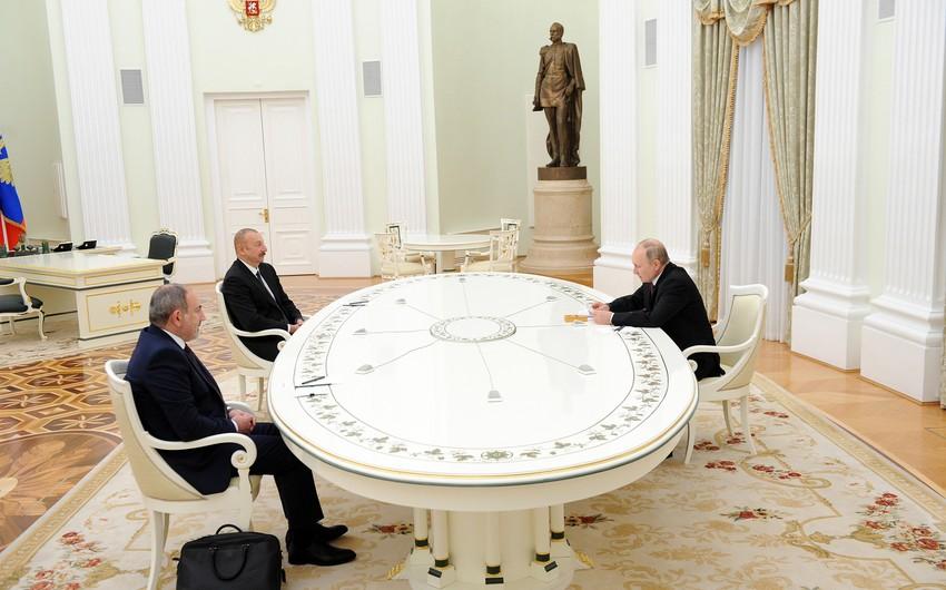 İlham Əliyev, Vladimir Putin və Nikol Paşinyan arasında görüş başa çatıb