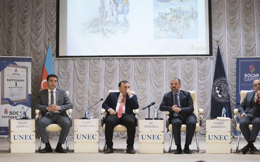 """""""Qlobal kapital bazarları və Azərbaycanda bu sahədəki yeniliklər"""" mövzusunda konfrans keçirilib"""