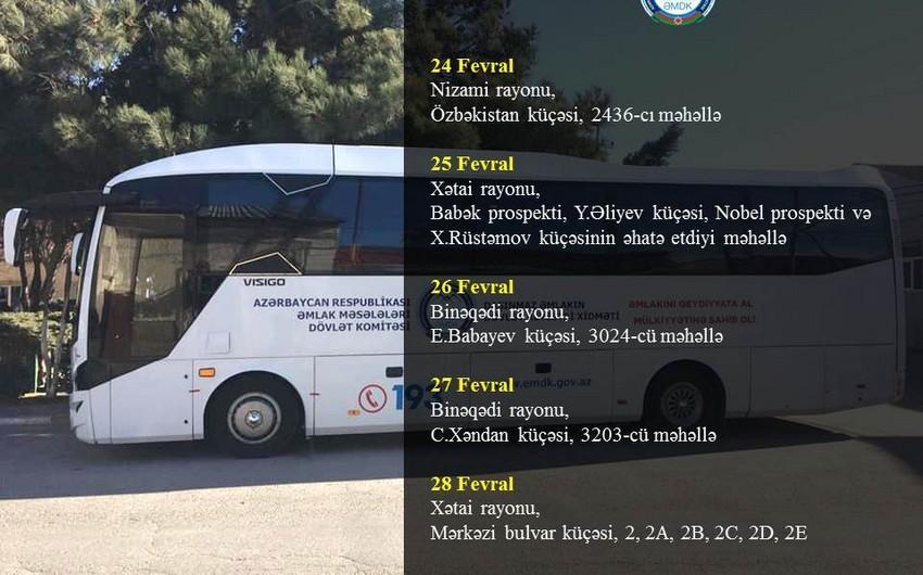 Bakının daha 3 rayonunda mənzillərin səyyar qeydiyyatı keçiriləcək