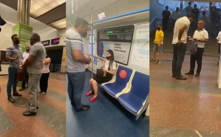 Mülki geyimli polislər metroda maskadan istifadə etməyənlərə qarşı tədbirlər keçirir