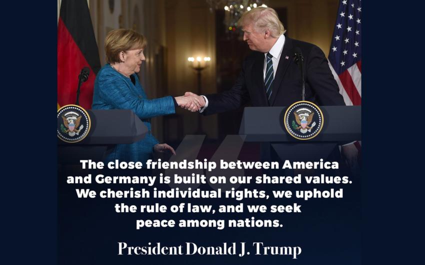 Tramp Merkel ilə görüşdüyü fotonu paylaşıb