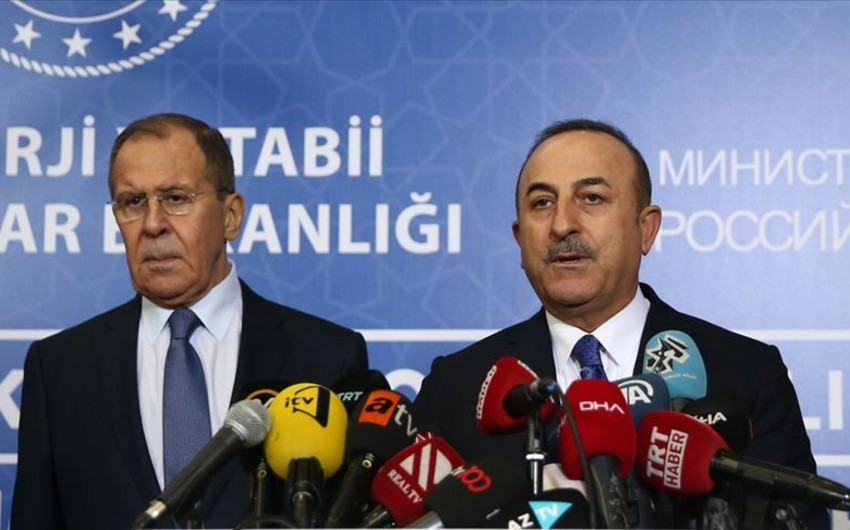 Türkiyə və Rusiyanın XİN başçıları mətbuata birgə bəyanatla çıxış ediblər - VİDEO