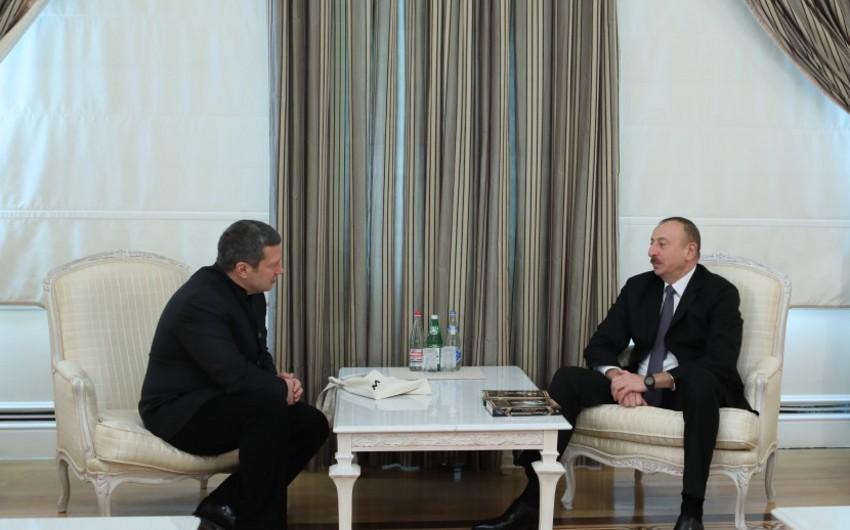 Azərbaycan Prezidenti Ümumrusiya Dövlət Teleradio Şirkətinin teleradio aparıcısı Vladimir Solovyovla görüşüb