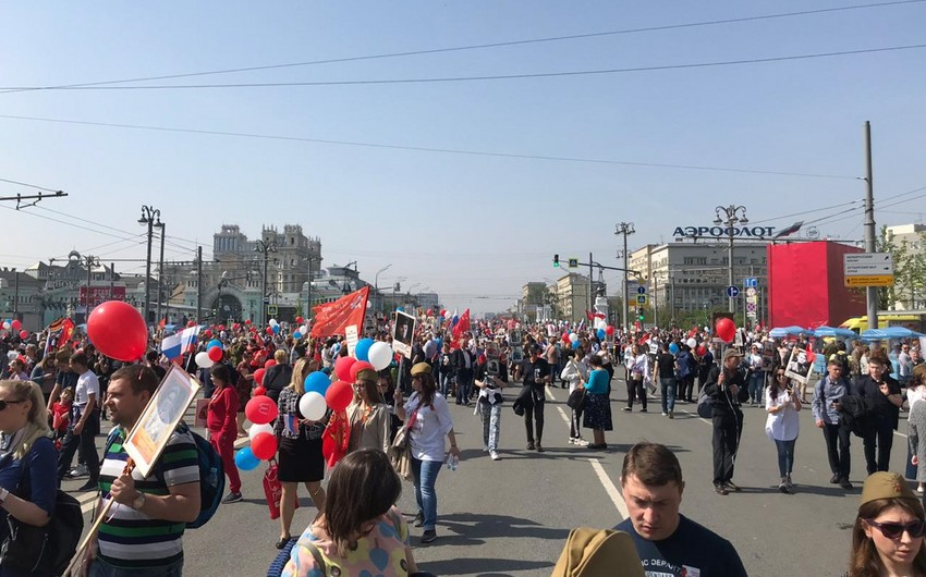 Azərbaycan diasporu Moskvada Ölməz alay aksiyasında iştirak edib