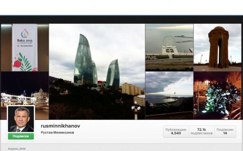 Tatarıstan prezidenti öz mikrobloqunda  Bakıda çəkdiyi şəkilləri yerləşdirib