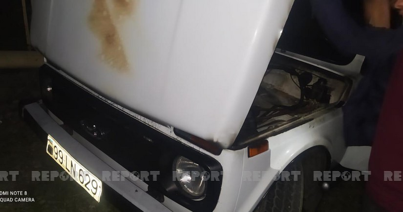 Qaxda Niva markalı avtomobil yanıb - FOTO
