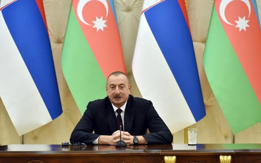 Prezident: Azərbaycan və Serbiyanın üzləşdiyi münaqişələr beynəlxalq hüququn norma və prinsipləri əsasında həllini tapmalıdır