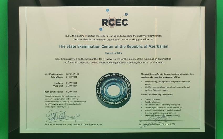 Niderland təşkilatı DİM-ə keyfiyyət nişanını əks etdirən sertifikat verib