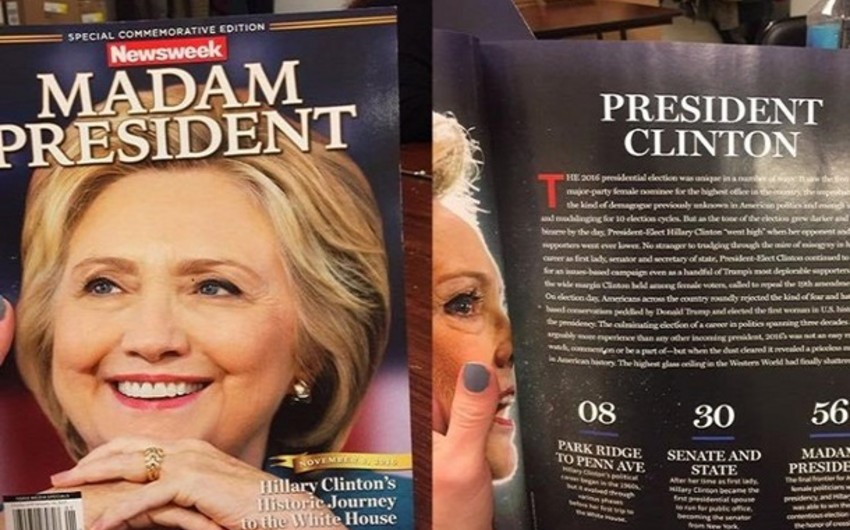 Amerika jurnalı Hillari Klintonun qələbəsinə həsr olunmuş nömrəni səhvən satışa çıxarıb