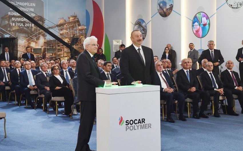 Президенты Азербайджана и Италии приняли участие в открытии полипропиленового завода, построенного в рамках проекта SOCAR Polymer