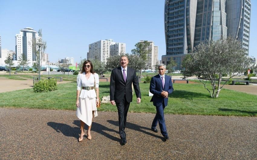 Президент Ильхам Алиев принял участие в открытии спортивно-развлекательного паркового комплекса в Хатаинском районе