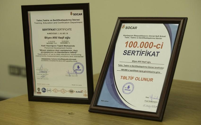 SOCAR-ın Təlim, Tədris və Sertifikatlaşdırma İdarəsi 100 mininci sertifikatı təqdim edib