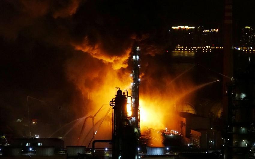 Çinin enerji nəhənginin obyektində güclü yanğın başladı - VİDEO