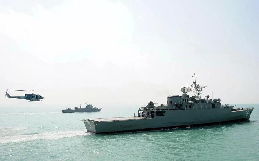 İranın hərbi gəmisi Oman körfəzində batıb - VİDEO