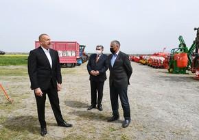 Prezident Hacıqabulda fermer Elşən Xəlilovun pambıq tarlasında səpin prosesini izləyib -YENİLƏNİB