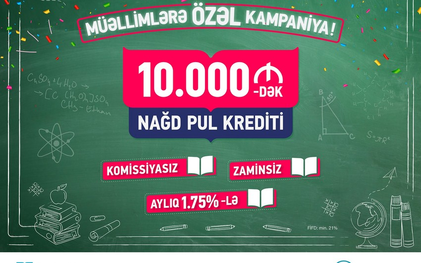 Bank of Baku müəllimlərə zaminsiz və komissiyasız kredit təklif edir