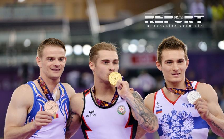 Azərbaycan gimnastı Oleq Stepko Bakı 2015də qızıl medal qazanıb