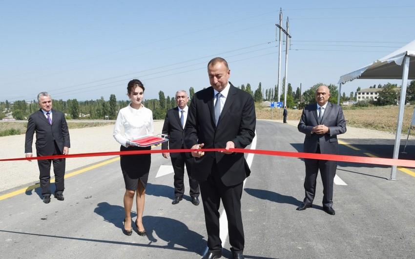 Prezident İlham Əliyev Qusar-İmamqulukənd-Quxuroba avtomobil yolunun açılışında iştirak edib