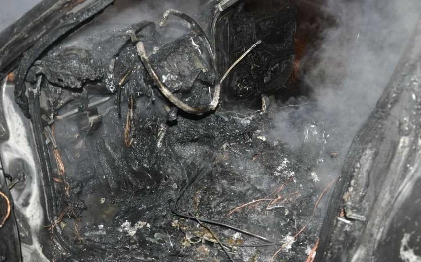 Xətai rayonunda avtomobil yanıb