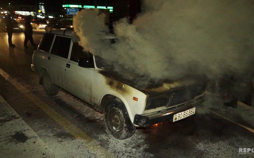 Göyçayda minik avtomobili yanıb - FOTO