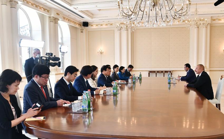İlham Əliyev Koreya Milli Assambleyasının sədrini qəbul edib
