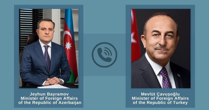 Azərbaycan və Türkiyə XİN rəhbərləri gəmiyə edilən hücumu müzakirə edib