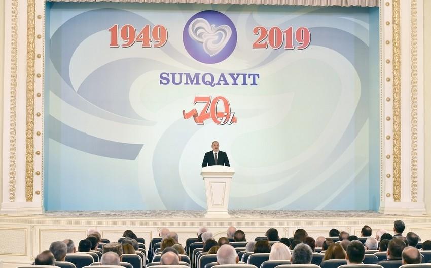 """Prezident: """"Sumqayıt Cənubi Qafqazın ikinci sənaye şəhəridir"""""""