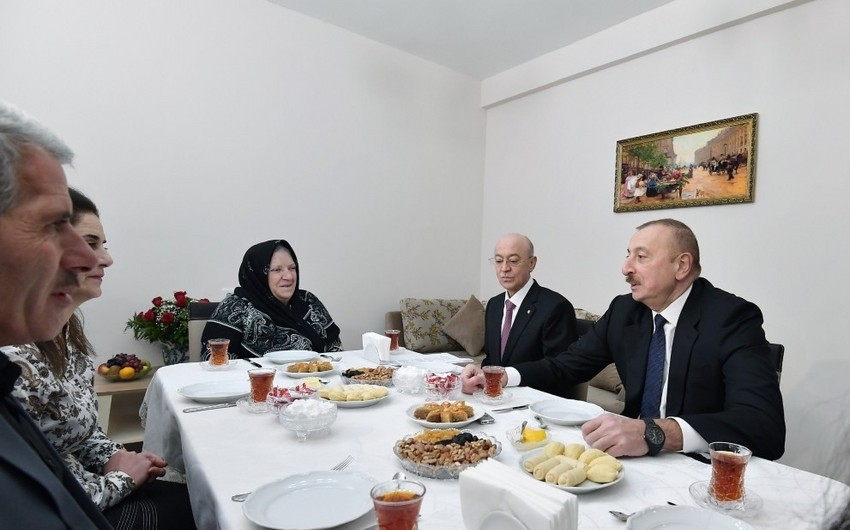 President Ilham Aliyev viewed conditions created at newly constructed building for earthquake-affected families in Shamakhi