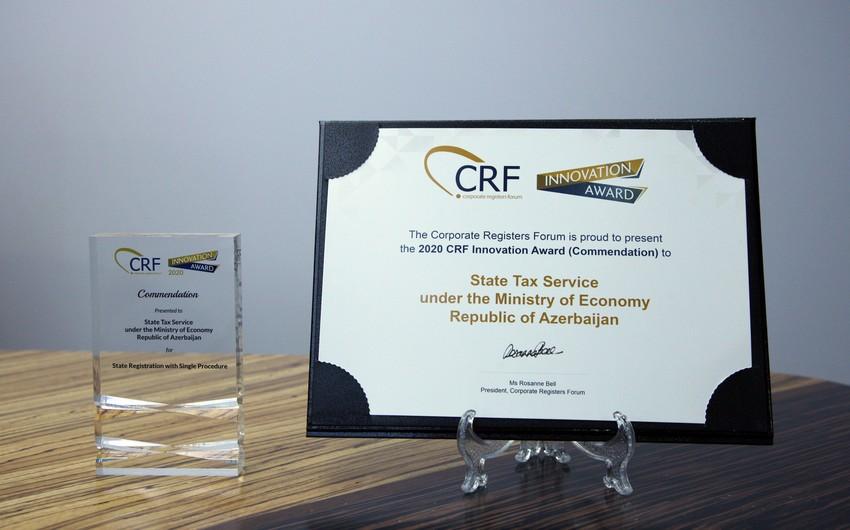 Dövlət Vergi Xidməti Korporativ Qeydiyyatçılar Forumunun mükafatına layiq görülüb