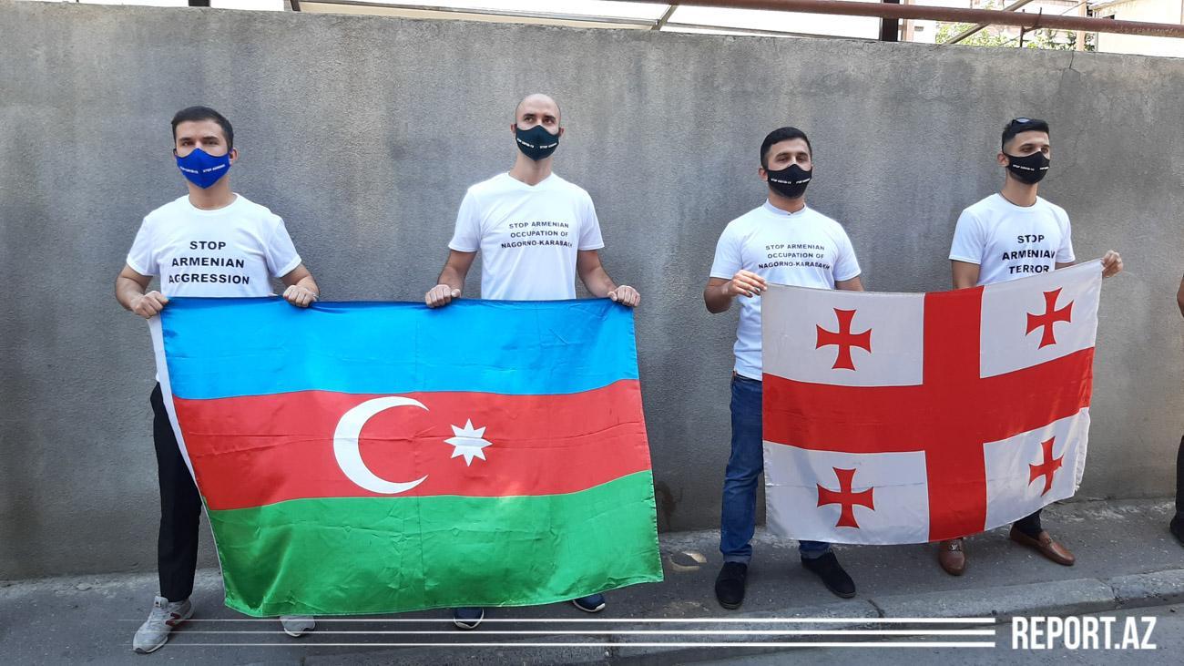 Ermənistanın Gürcüstandakı səfirliyi qarşısında etiraz aksiyası keçirilir