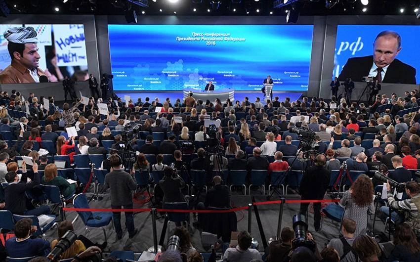 Putinin mətbuat konfransında jurnalistlərin rekord sayda akkreditasiyası qeydə alınıb