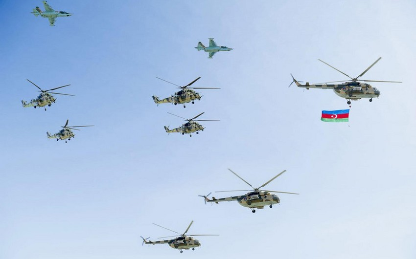 Military aircraft, helicopters conducting next flights as part of preparations for parade